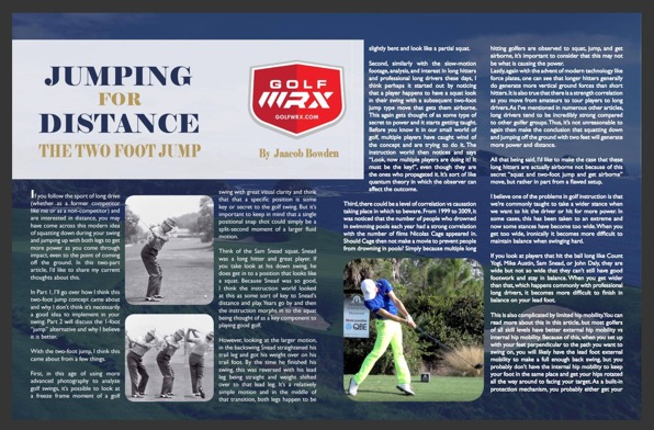 Jaacob's GolfWRX article Jumping for Distance The Two Foot Jump was reprinted in the MAPGA e-magazine The Professional